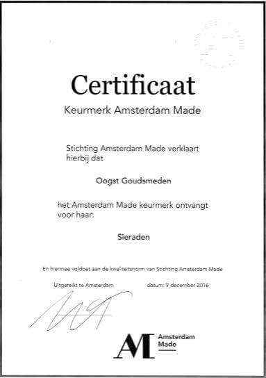 Amsterdam Made Keurmerk certificaat voor Oogst goudsmeden