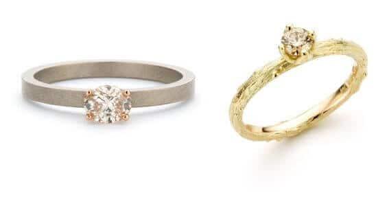 Bijzondere verlovingsring Witgouden ring met diamant. Geelgouden ring met diamant. Blog alles over verlovingsringen. Oogst Amsterdam
