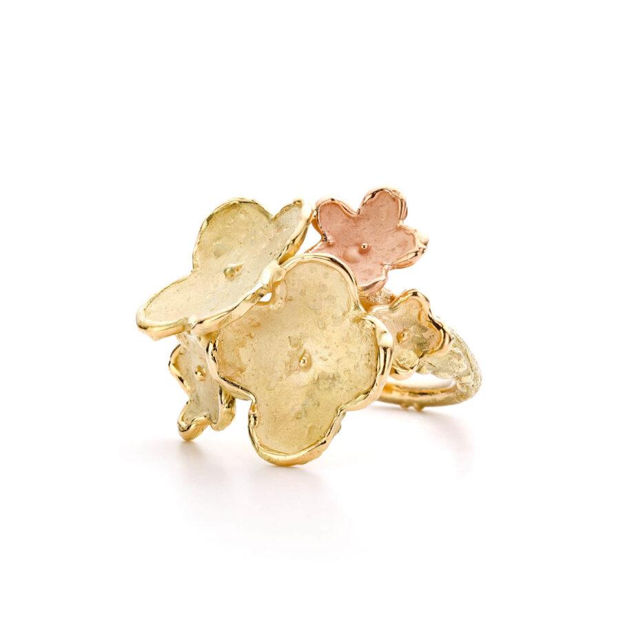 Bloemen ring geelgoud en roodgoud In Bloei eenmalig stuk uit oogst atelier