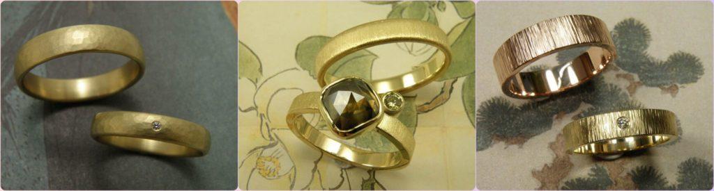 Blog Alles over trouwringen. ringen met hamerslag. Oogst goudsmid Amsterdam