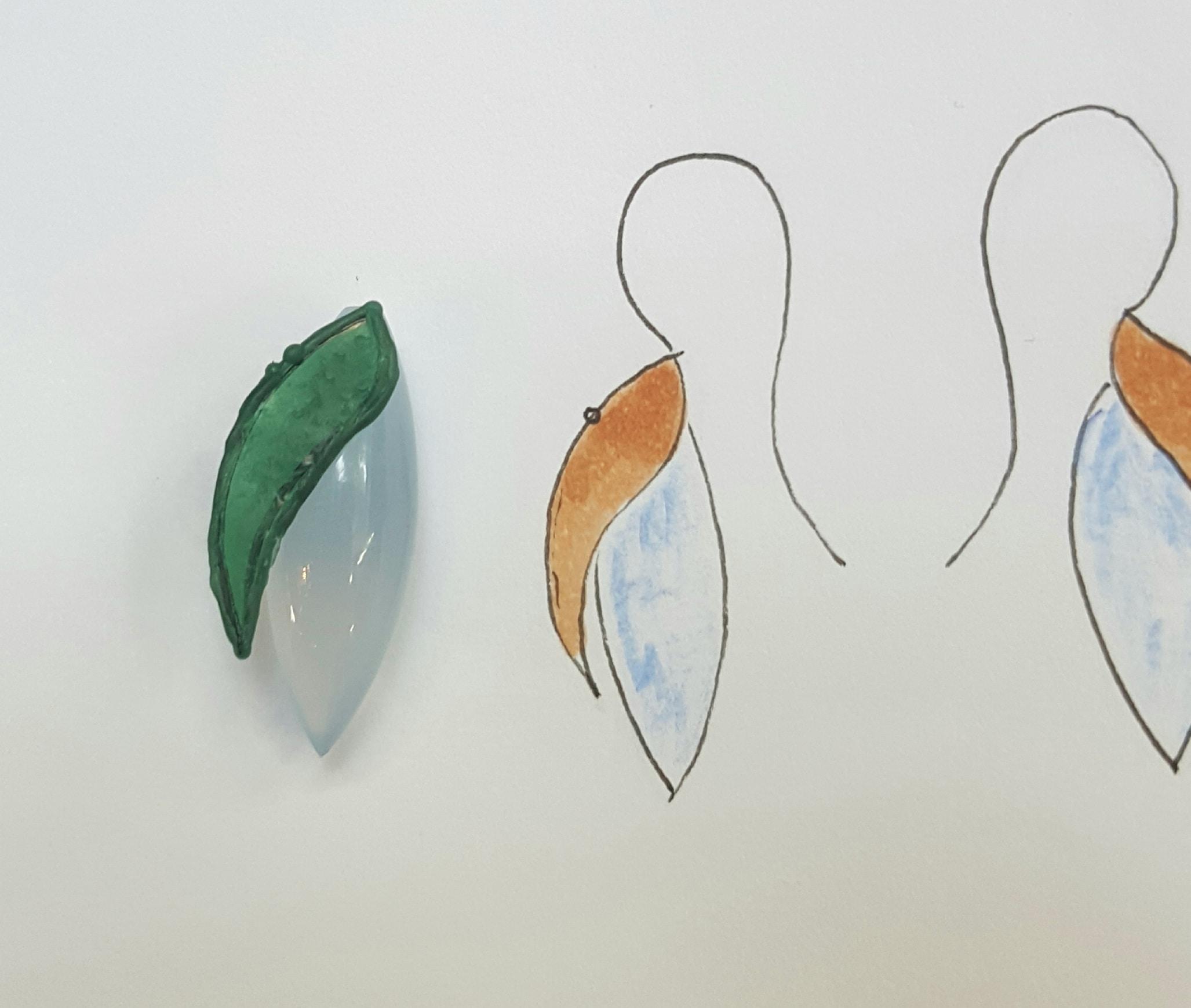 Wasmodel voor Oorsieraden Blaadjes. Wax model for leafs earrings. Oogst goudsmid Amsterdam