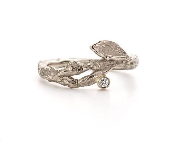 verlovingsring boleet * groene diamant * 2140,-