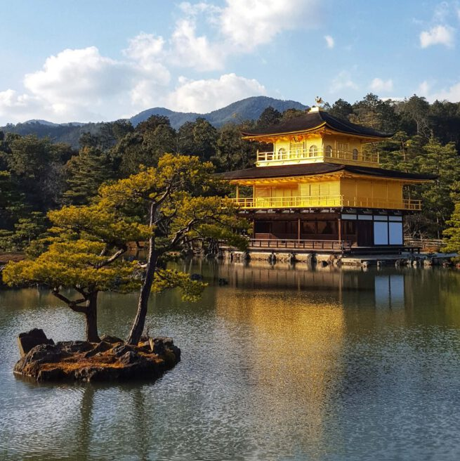 The Golden Temple, in Kyoto, Japan. View from the lake with a tree.