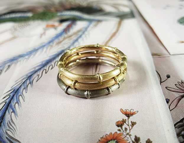Ring Bamboo. Stack rings in white, yellow and rose gold. From our Japonais collection. Oogst goldsmith Amsterdam.