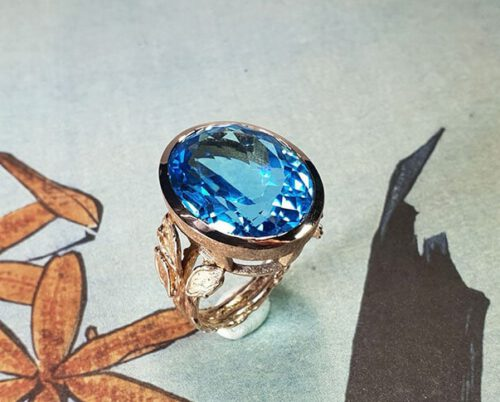 Roodgouden ring Boomgaard met topaas. Rose gold ring Orchard with topaz. Oogst Amsterdam design & creation