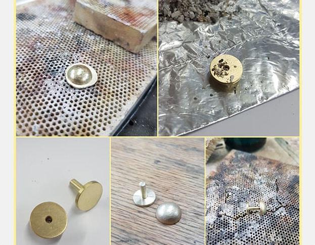 Maakproces Geelgouden manchetknopen. Assieraad. Yellow gold cufflinks. Remembrance jewel. Oogst goudsmid Amsterdam