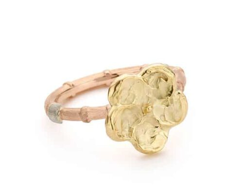 Rose gold Bamboo ring with yellow gold flower Kamon. Design from our Japonais collection Oogst Amsterdam