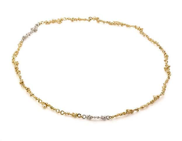 Yellow gold and white gold necklace Berries with diamonds. Oogst goldsmith Amsterdam