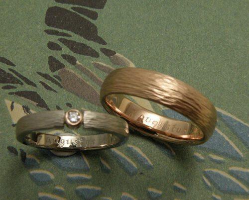 Wedding rings 'Rhythm'. White golden ring with diamond. Rose golden ring. Oogst goldsmith Amsterdam.