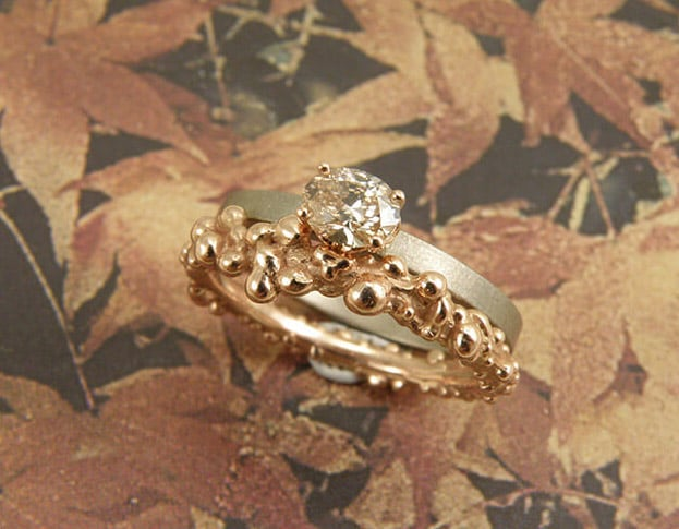 Berries stack ring combined with a diamond ring. Oogst goldsmith Amsterdam