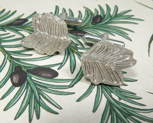 Silver cufflinks with hand engraving Taxus. Botanical Garden collection. Design by goldsmith Oogst in  Amsterdam