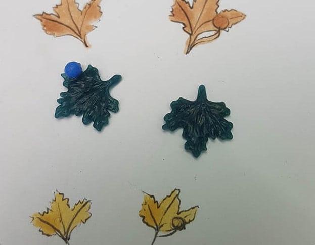 Roodgouden 'Blaadjes' oorstekers van de Plataan boom uit de Hortus Botanicus serie. Oogst ontwerp & creatie
