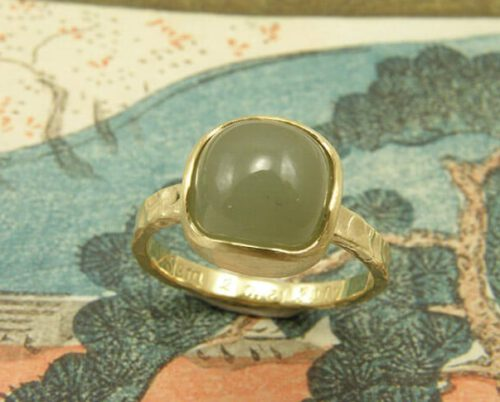 Ring met aquamarijn van eigen oud goud gemaakt. Geboortesieraad. Baargoud. Ring with aquamarine created with heirloom gold. Birth gift. Push present. Oogst goudsmid Amsterdam