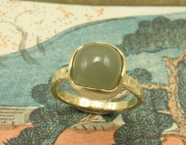 Ring met aquamarijn van eigen oud goud gemaakt. Geboortesieraad. Baargoud. Ring with aquamarine created with heirloom gold. Birth gift. Push present. Oogst goudsmid Amsterdam