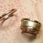 Aanschuifringen roodgoud, geelgoud en diamant. Stack ring, yellow gold, rose gold and diamond. Oogst goudsmdi Amsterdam. Geboortesieraad. Birth present.