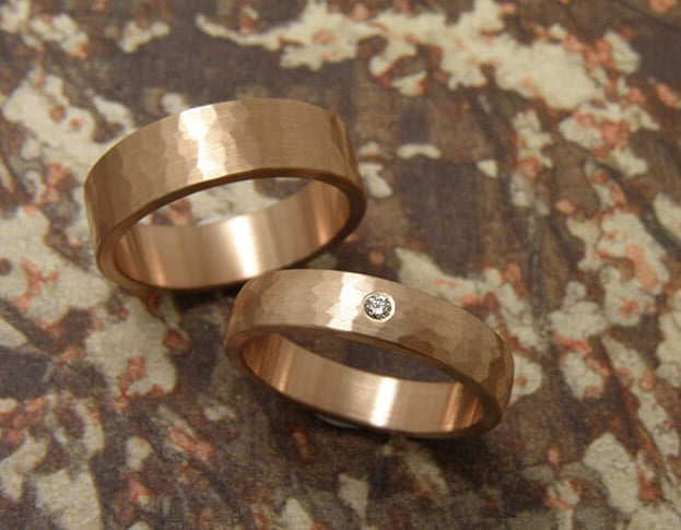 rose golden wedding rings with hammered texture. oogst goldsmiths amsterdam