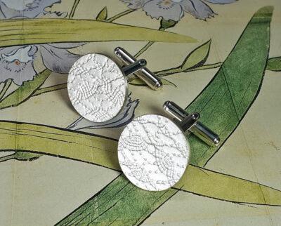 Zilveren manchetknopen met stof patroon, Silver cufflinks with pattern. oogst goudsmid Amsterdam
