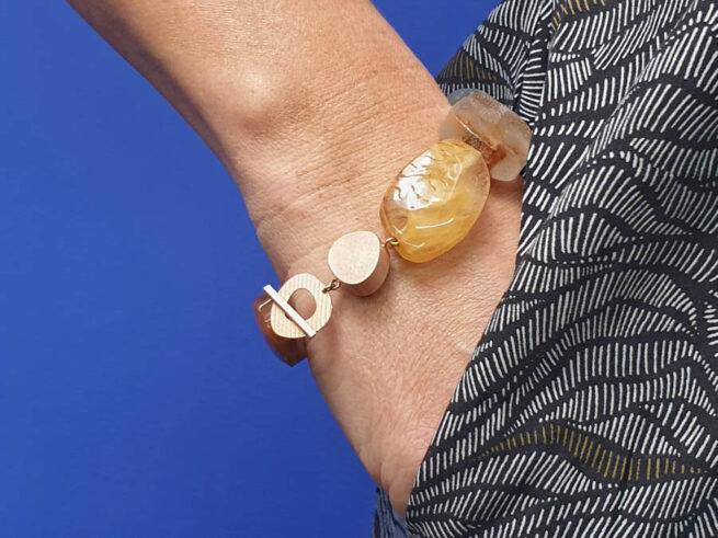 Rutiel kwarts armband met roodgouden doosjes sluiting. Rose gold box clasp with rutile quartz. Oogst goudsmid amsterdam. Bracelet.