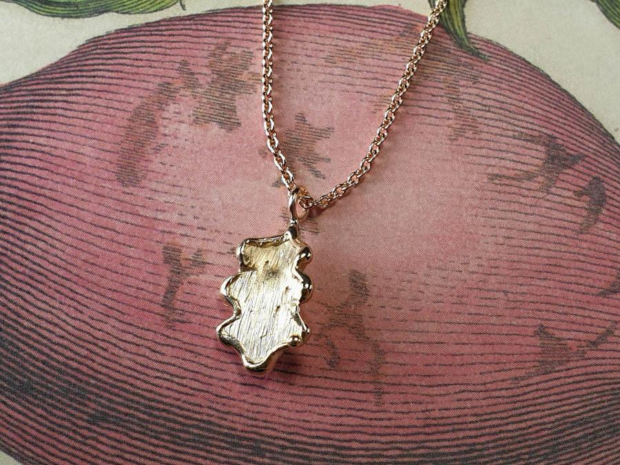 Roségouden hanger Eik. Rose gold Oak pendant. Gedenksieraad. Assieraad. Remembrance jewel. Oogst Amsterdam edelsmid