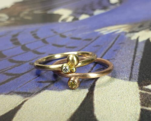Rings Berries. Rose gold diamond ring. Yellow gold diamond ring. Stack rings. Oogst goldsmith Amsterdam