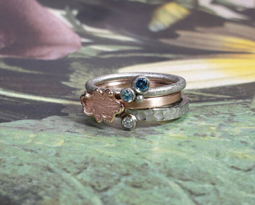 Rings Berries Oak Swell.  Rose gold Leaf ring. White gold diamond ring. Stack rings. Oogst goldsmith Amsterdam
