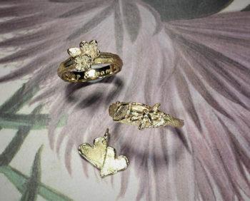 Ring erosie, ring Boomgaard, hanger Hartjes, vervaardigd van eigen oud goud. Ring Erosion, ring Orchard and pendant Hearts created from heirloom gold. design Oogst Amsterdam