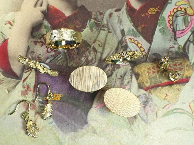 Ring Erosie Ring Bessen Oorsieraden Besjes en manchetknopen Ritme en oorsieraden Eik van eigen goud. Oogst goudsmid Amsterdam. Ring, earrings, cufflinks made from heirloom gold.