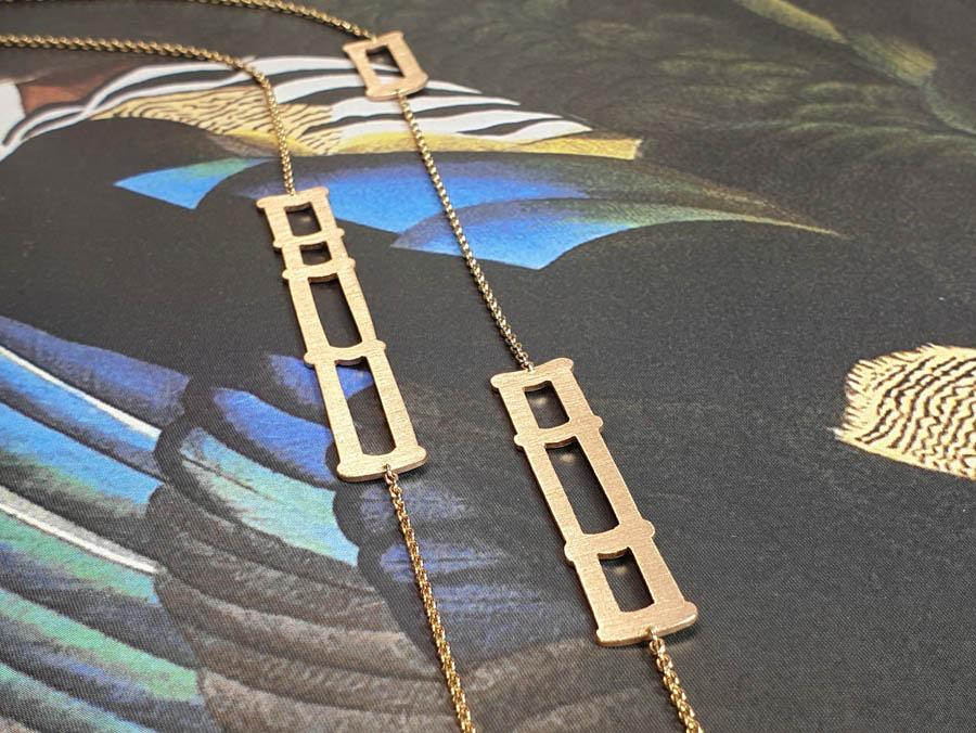 Roodgouden Bamboe collier uit de japonais collectie. Rose gold Bamboo necklace Uit de Japonais collectie. Oogst goudsmid Amsterdam