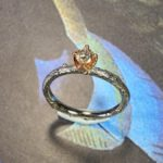 Verlovingsring witgouden takje met diamant in roodgouden chaton. Boomgaard. Engagement ring white gold twig with diamond and rose gold setting. orchard. Design by Oogst Goudsmid Amsterdam