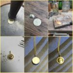 Maakproces Cirkel hanger met as. Geelgouden cirkel met hamerslag. Commerative jewel. Yellow gold Circle pendant with hammering. Oogst Amsterdam