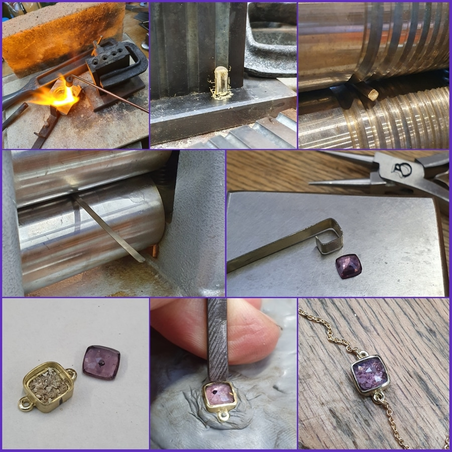 Maakproces assieraad Armband geelgoud met amethist. Bracelet yellow gold with amethyst. Conmemorative jewel. Making of. Oogst Amsterdam