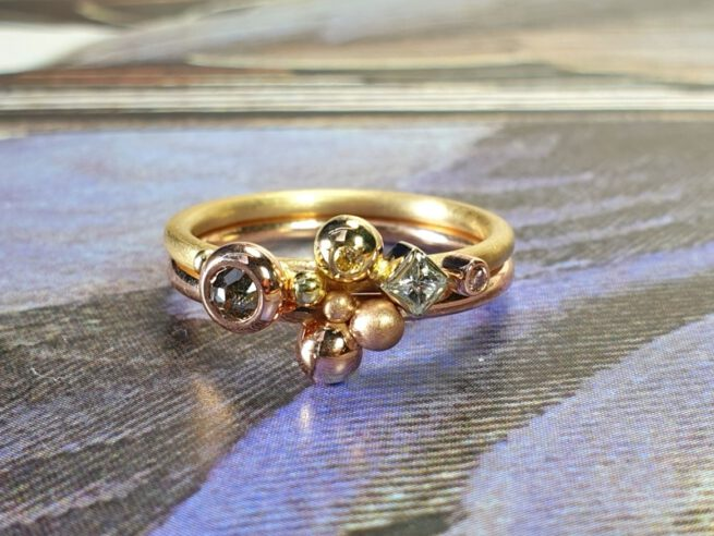 Yellow gold ring with brilliant, princess and rose cut diamonds. Oogst goldsmith Amsterdam. Independent jewellery designer.