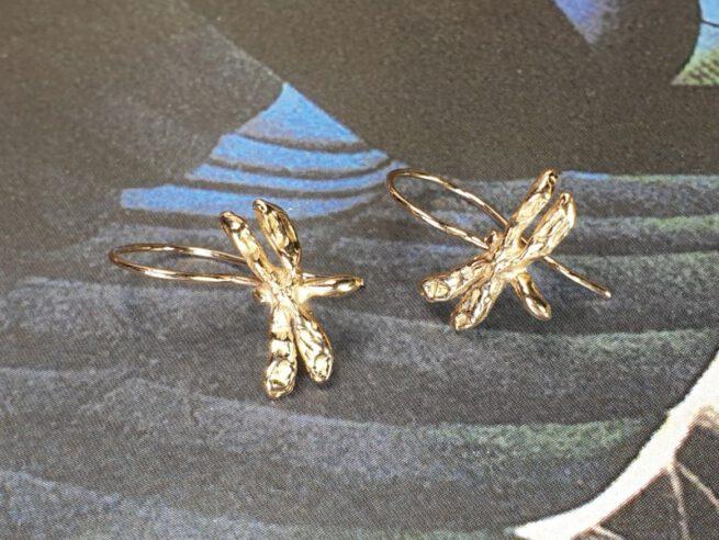 Rose gold 'Dragonflies' earrings. Oogst design & creation Amsterdam