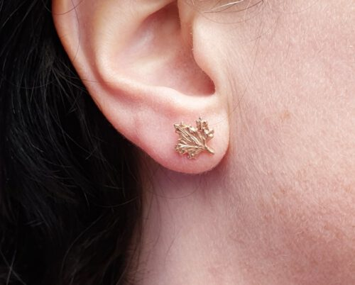 Rose gold 'Leaves' ear studs. From our 'Botanical garden' series. Oogst design & creation