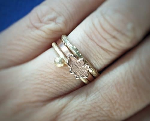 Stack ring.. Yellow gold  'Berries' ring , rose gold 'Oak' ring and yellow gold 'Orchard' ring.
