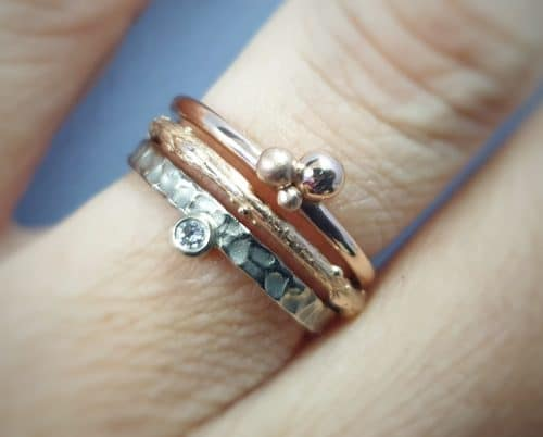 White gold and rose gold stack rings. Oogst goldsmith Amsterdam
