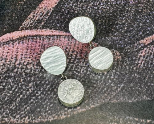 Zilveren oorbellen Japonais doosjes. Silver earrings Japonais. Oogst goudsmid Amsterdam