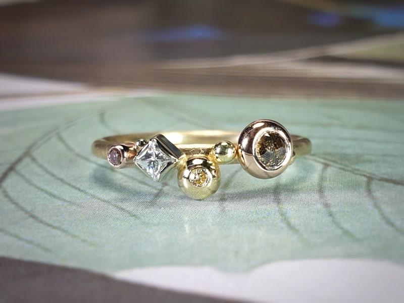 Verzameling ring verschillende soorten diamant