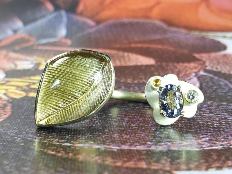 Geelgouden 'Wolken' ring met citrien, spinel en diamant. Ontwerp uit de amorf vs kristallijn collectie van Oogst goudsmid in Amsterdam