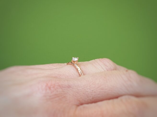 Roodgouden ring 'Boomgaard' met 0,16 crt diamant. Oogst Amsterdam.